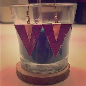 Jewelry - *3 for $11* Red and Gold Triangle Dangle Earrings